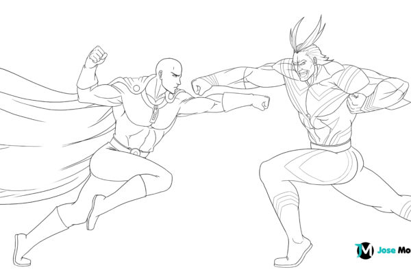 Saitama-v-All-Might-lineart